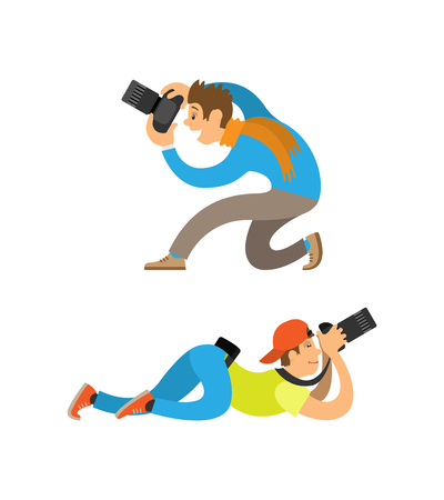Photographers making picture with modern digital cameras from bottom angles. Man sitting or guy in cap lying to take photo vector illustrations set.