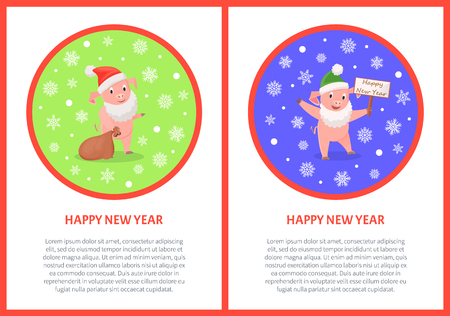 Happy New Year greeting in round frame, pigs in Santa costume, gifts sack and greeting signboard. Illustration