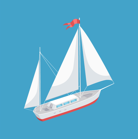 Sail boat with white canvas sailing vector illustration icon isolated. Modern yacht marine nautical personal boat with red flag on top, racing marine yacht  イラスト・ベクター素材