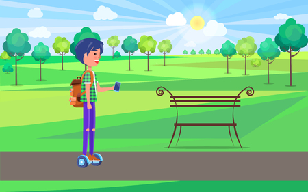 Student teen boy on gyroscooter in park riding hoverboard vector. Person human with vape in hands, wearing backpack. Male using modern technologies Illustration