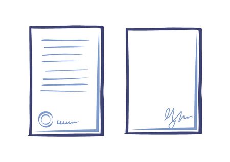Empty sheet of paper with signature and page with scribbles isolated.