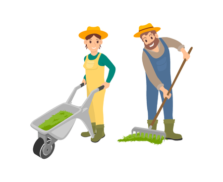 Farming man and woman dealing with compost spreading on ground. Female with trolley, man working using rake. Agriculture works and husbandry vector