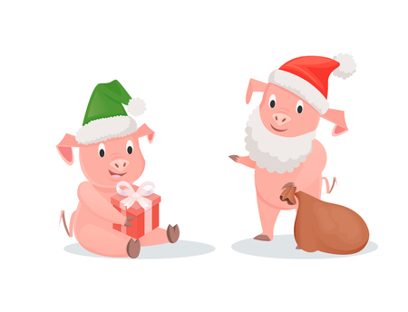 New Year pigs in Santa hats, gift box and sack. Piglets in festive outfits, winter holidays, zodiac symbol of Chinese horoscope vector illustrations Illustration