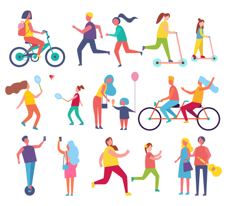 Family mom and child with air inflatable balloon icons set vector. Relaxing people riding bicycle and couple playing tennis. Running male and female Banque d'images - 125728101