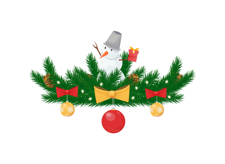 Snowman with bucket on head on spruce branches, winter Christmas and New Year holidays decoration isolated vector icon. Color balls with bows, lights