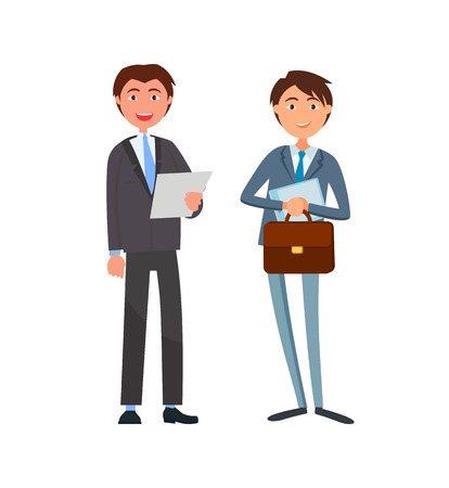 Smiling businessman in formal wear and executive worker with papers and briefcase vector business people isolated. Workers in suits, male cartoon characters Ilustração