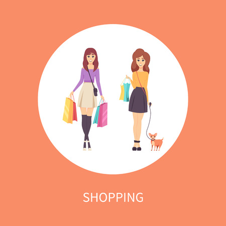 Shopping female with bags and dog on leash poster with text vector. Ladies customers of shops walking with goods and purchases in hands. Clients women  イラスト・ベクター素材