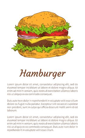 Hamburger Poster Fast Food Vector Illustration Illustration
