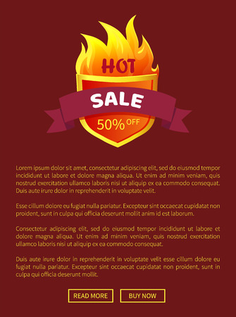 Hot Sal Heraldic Badge Promo Offer 50 Percent Off Ilustrace