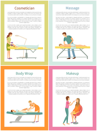 Cosmetician face procedure and massage by experienced masseur. Posters set with text sample, beauty industry, visage and body wrap service vector Фото со стока - 125728138