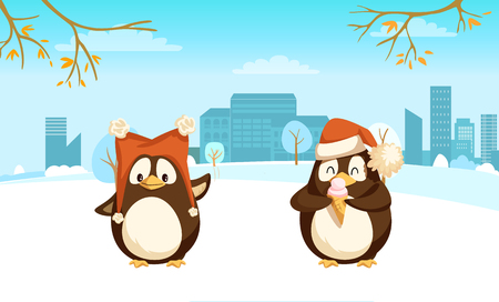 Cheerful standing penguin with big warm hat and enjoying animal with Santa cap and ice-cream near trees and buildings. Card with branches and clouds vector 向量圖像