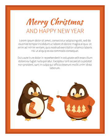 Merry Christmas penguin wearing warm sweater with pine tree print poster vector. Animal holding celebration socks, winter holidays with text sample  イラスト・ベクター素材