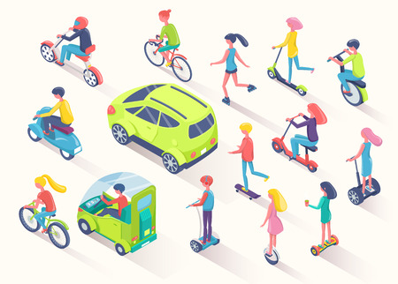 Eco transport people using eco friendly cars and auto vector.