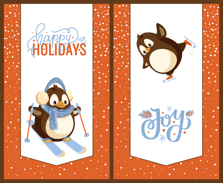 Skating and skiing penguins, happy winter holidays greeting card. Bird in earmuffs and scarf on skis or skates, Christmas and New Year celebration vector Illustration