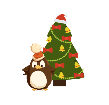 Penguin in Santa hat near decorated Christmas tree. Bird in headdress, beads and jingle bells, bows on fir or spruce, New Year celebration vector Illustration