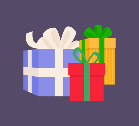 Gift boxes different sizes with stripes wrapped wide ribbon. Holiday colorful square presents with pattern and bow in flat style isolated on purple vector