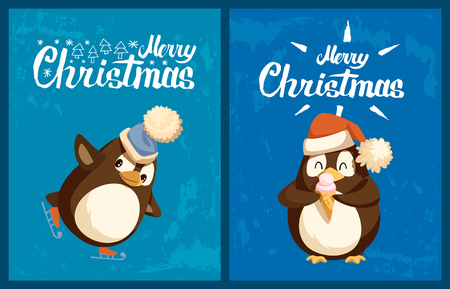 Penguin on skates and with ice cream greeting card. Skating bird in hat with bubo, dessert in waffle cone, Santa hat, CHristmas and New Year vector