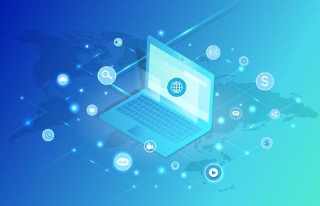 Social Network Laptop Icons Vector Illustration 向量圖像