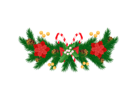 Spruce branches and white mistletoe, red poinsettia flowers and striped candy sticks, bow and pine cones vector New Year decoration icon isolated Иллюстрация