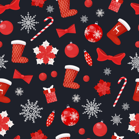 Christmas seamless pattern socks and candy lollipop stick vector. Star decoration, bauble with snowflake print, bow ribbon, toy decoration for pine tree