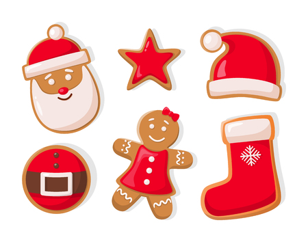 Gingerbread man and star shaped cookies isolated icons set vector. Çizim