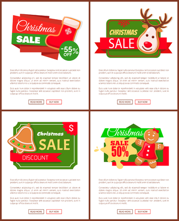 Christmas sale price off, cookies and text web vector.
