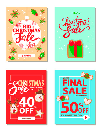 Big Christmas sale 50 percent off reduction price vector.