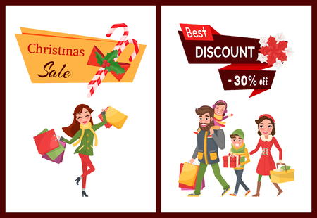 Best discount Christmas sale 30 percent off set winter holiday vector. Ilustração