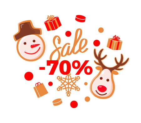 Sale 70 percent price more than half off reduced cost logo vector.