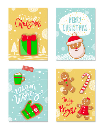 Merry Christmas poster with greetings cookies vector. Gingerbread biscuits in shape of mitten, cup with beverage, Santa Claus, present male and female Standard-Bild - 125728175