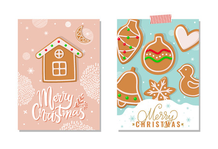 Merry Christmas happy holidays greeting poster vector. Gingerbread meal, cookies made of ginger in shape of house, ball and bell, heart and birdie Standard-Bild - 125728176