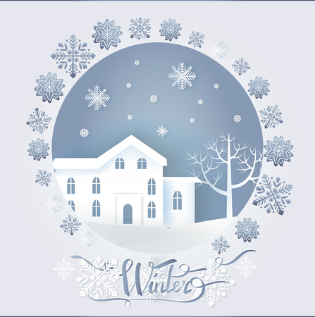 Winter paper card decorated by snowflakes in round frame with big dwelling near tree. Dark sky with flakes of snow in white color and flat style vector, paper art and craft style