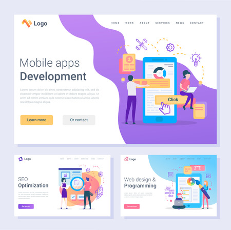 Mobile apps development programmers SEO optimization web pages vector. Online tools and instrument programming and design changing smartphone screen, flat style Reklamní fotografie - 125728182