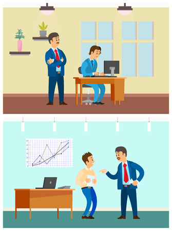 Worker control and bad job, office work. Boss watching secretary work at computer, rebuke for wrong document, company interior vector illustrations.