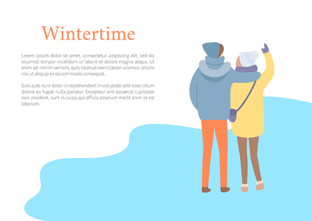 Standing in wintertime man embracing woman in hat and jacket with bag and colorful trousers. Back view of couple outdoor, papercard with text vector 向量圖像