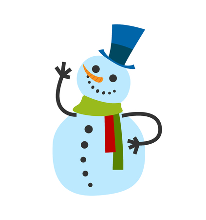 Snowman male, in warm winter scarf and high hat wave hand and greets everyone.  イラスト・ベクター素材