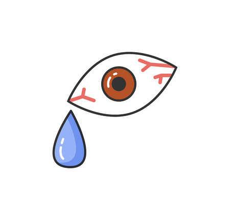 Symptom of allergic reaction, bloodshot human eye isolated icon vector. Drop of tear and red capillary, problems with health and allergy of person 일러스트