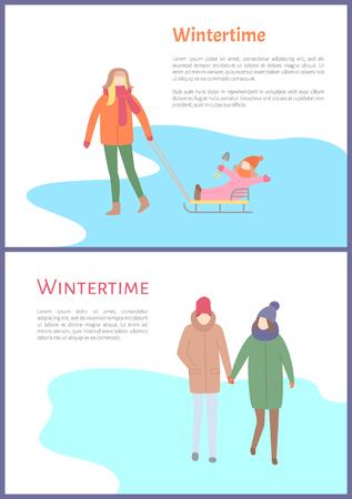 Wintertime couple walking outdoors during winter season vector. Illustration