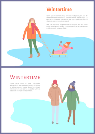 Wintertime couple walking outdoors during winter season vector. Ilustracja
