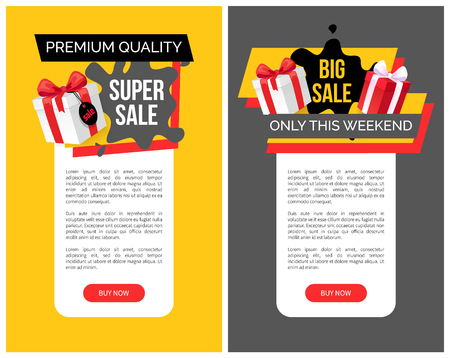 Big sale only this weekend prices off vector web templates. Giftbox with ribbon, presents and gift in box. Special discounts and new offers, super price Illusztráció