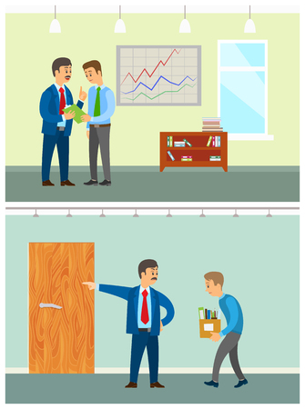Boss planning new company strategy with coworker vector. Director with employee discussing problems, manager discharging unemployed person with boxes