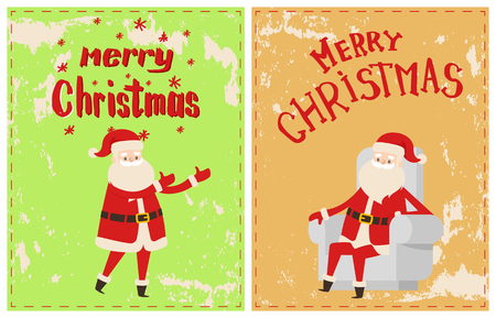 Merry Christmas Santa Claus sitting in cosy white armchair, cartoon character sticker on grunge. Vector greeting card with lettering and snowflakes Vektorové ilustrace
