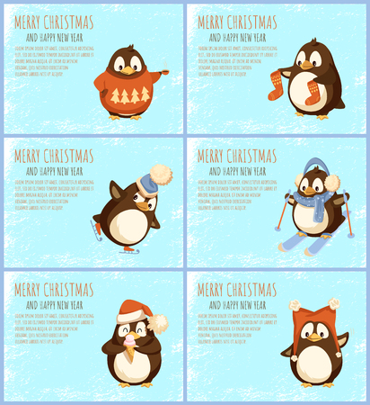 Merry Christmas happy winter holidays penguin vector. Skiing and figure skating, animal wearing sweater with pine tree print, evergreen image character Illustration