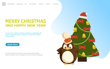 Merry Christmas and happy New Year web page online vector.