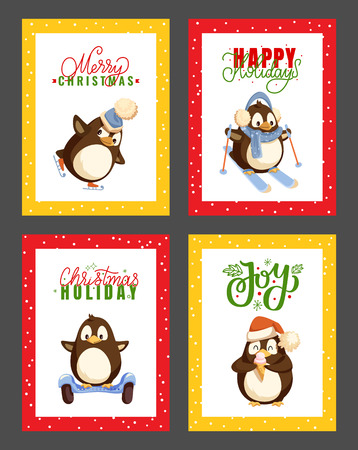 Merry Christmas happy winter holidays posters set with greeting text vector. Ilustração