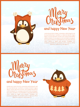 Penguins holding cup in sweater with pattern of tree and animal in funny hat with pompons. Greeting card Merry Christmas and Happy New Year vector