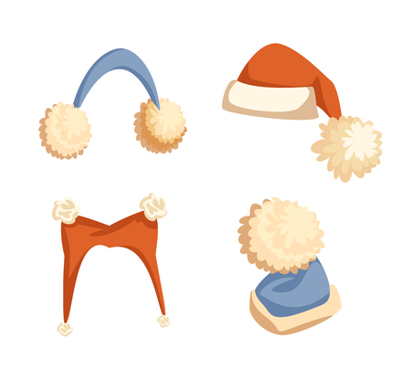 Colorful Santa hats with big pompons and furry earmuffs. Collection of winter headdress, wintertime holiday costume in flat style isolated on white vector