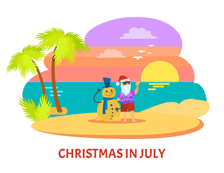 Santa Claus with beard and glasses and red hat with shorts standing with snowman near palm-trees on beach with sunset. Christmas holiday in July vector
