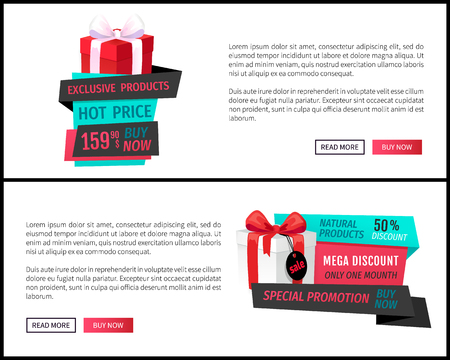 Hot price, buy now exclusive product on sale web page, push buttons read more, buy now. Giftbox with bow, saving money by buying presents on discounts