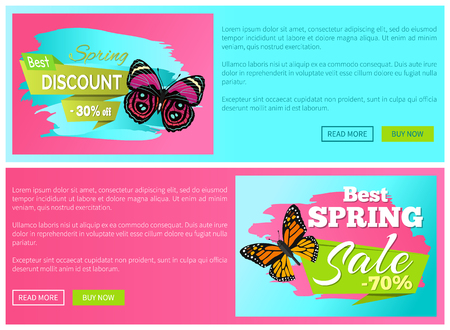 Spring discount sale 30 70 off emblems set on online web pages, butterflies of brown color with black dots, butterfly springtime vector promo stickers Illustration